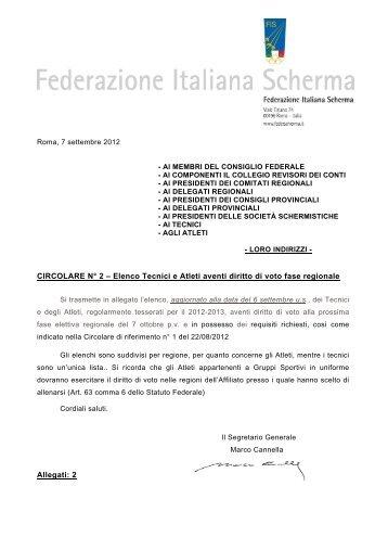 Circolare n° 2 - Federazione Italiana Scherma