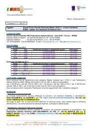 Comunicato AMIS n° 7 - Associazione Italiana Master Scherma