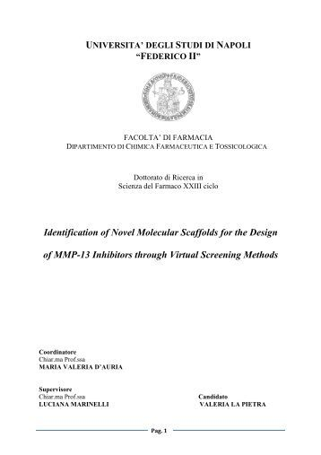 Identification of Novel Molecular Scaffolds for the Design of ... - FedOA