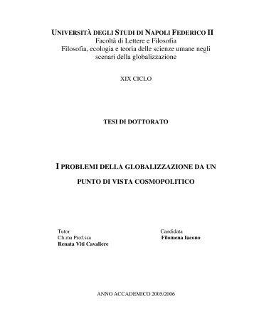 Facoltà di Lettere e Filosofia Filosofia, ecologia e teoria delle ...