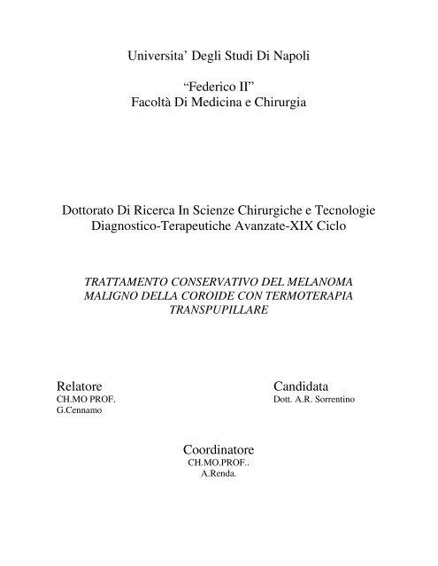 Trattamento conservativo del melanoma maligno della - FedOA