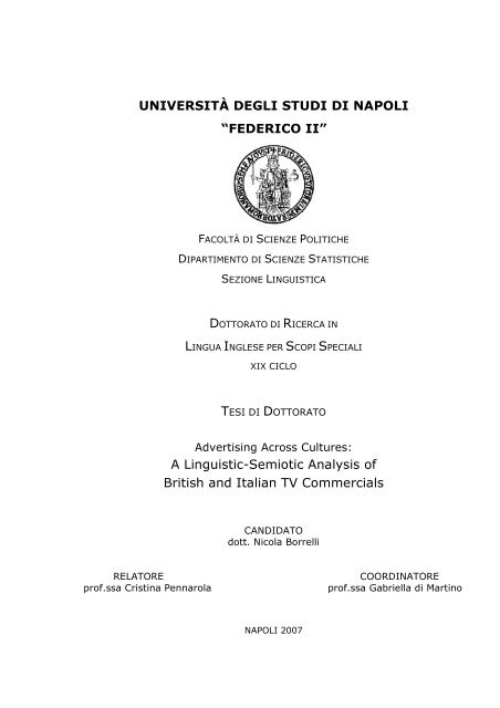 A Linguistic Semiotic Analysis Of Fedoa Università Degli