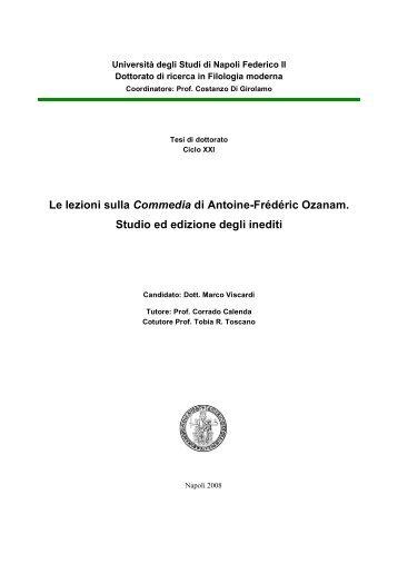 Le lezioni sulla Commedia di Antoine-Frédéric Ozanam. Studio ed ...