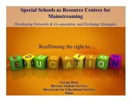 Special Schools as Resource Centres for Mainstreaming ...