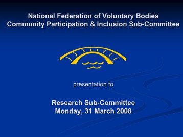 presentation - National Federation of Voluntary Bodies