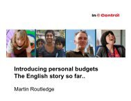 Delivering a National Personal Budgets Policy - Lessons from England