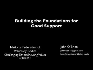 Building the Foundations for Good Support - National Federation of ...