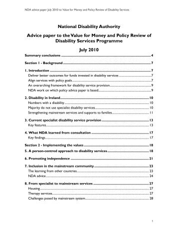 NDA: Advice paper to the Value for Money and Policy Review of ...