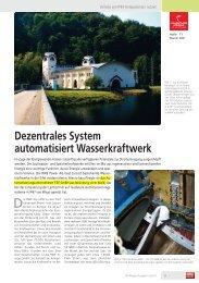 Dezentrales System automatisiert Wasserkraftwerk - F.EE GmbH