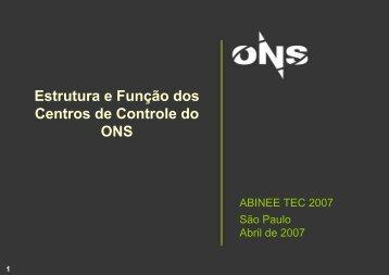 Estrutura e função dos centros de controle do ONS