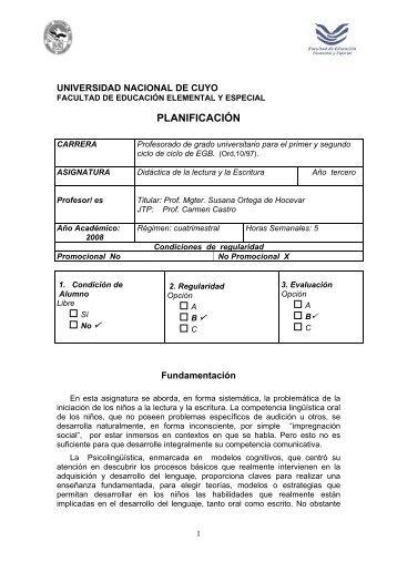Didáctica de la Lectura y la Escritura - Facultad de Educación ...