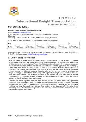 TPTM6440 International Freight Transportation - The University of ...
