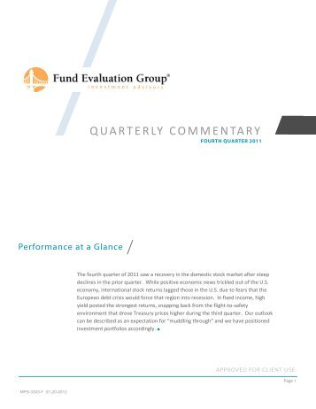 QUARTERLY COMMENTARY - Fund Evaluation Group, LLC