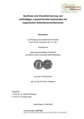 Synthese und Charakterisierung von zinkhaltigen Layered Double