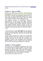 Lektion 1 - Was ist HTML Lektion 2 - Text eingeben - Feierabend
