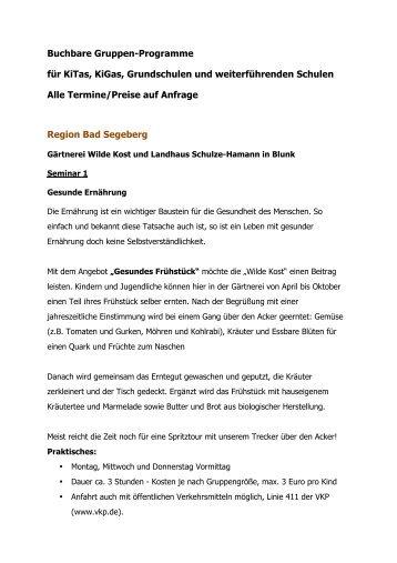 Buchbare Gruppen-Programme für KiTas, KiGas ... - Feinheimisch