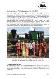 Jahresbericht 2009 - Frankfurter Feldbahnmuseum eV