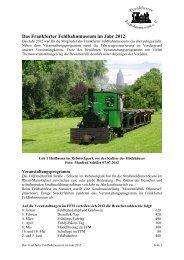 Jahresbericht 2012 - Frankfurter Feldbahnmuseum eV