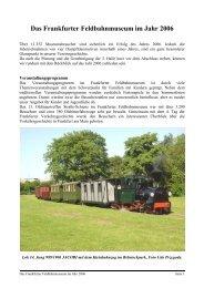 Jahresbericht 2006 - Frankfurter Feldbahnmuseum eV