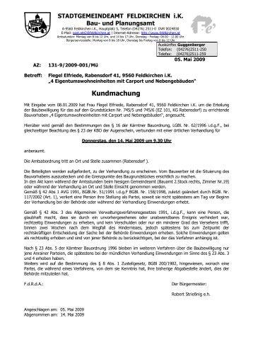 Kundmachung - bei der Stadtgemeinde Feldkirchen in Kärnten
