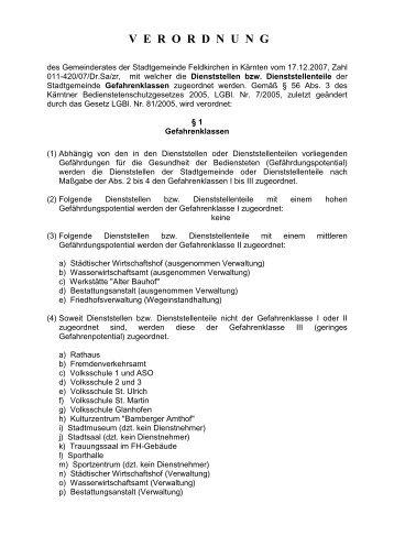 verordnung - bei der Stadtgemeinde Feldkirchen in Kärnten