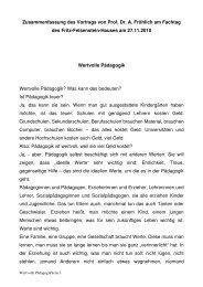 Zusammenfassung des Vortrags von Prof. Dr. A. Fröhlich am ...