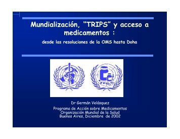 """Mundialización, """"TRIPS"""" y acceso a medicamentos : - Femeba Salud"""
