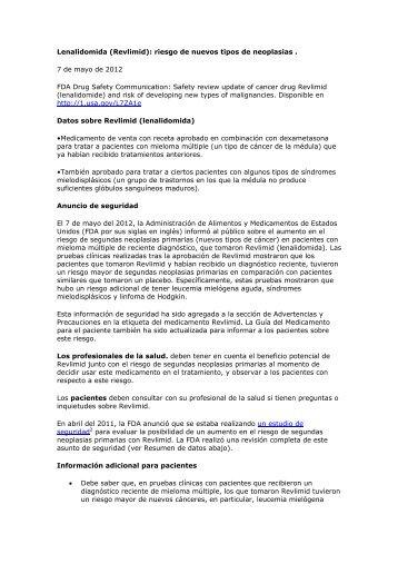 Lenalidomida (Revlimid): riesgo de nuevos tipos de ... - Femeba Salud