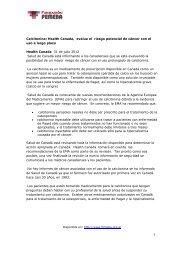 Health Canada, evalua el riesgo potencial de ... - Femeba Salud