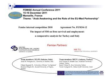 The impact of FDI on firm survival and employment - Femise