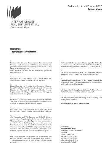 Teilnahmebedingungen für das Thematische ... - femme totale
