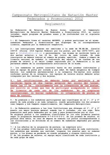 Reglamento y Programa de Pruebas - fenaba.org.ar