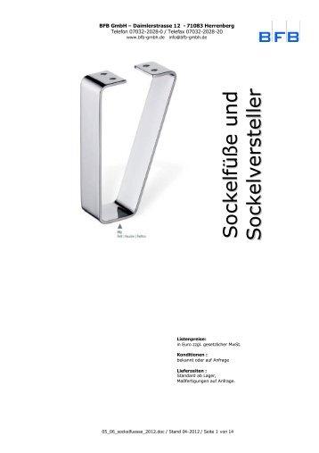 Sockelfüße Stahl, Edelstahl, Zamak, Kunststoff ... - BFB GmbH
