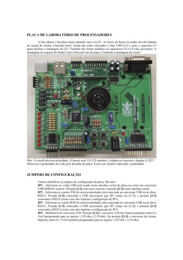 placa de laboratório de processadores jumpers de configuração