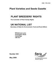 May - The Food and Environment Research Agency - Defra