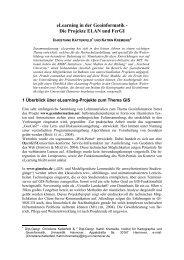 eLearning in der Geoinformatik - Die Projekte ELAN und FerGI