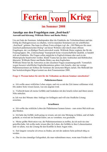 Feedback - Ferien vom Krieg