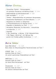 Karte Restaurant - Ferienhof Tiergarten