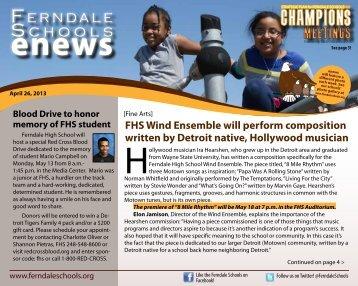 April 26, 2013 NEWS - Ferndale Public Schools