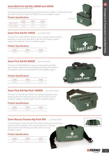 Saver Belt First Aid Kits 200GR and 300GR Saver First Aid Kit - Ferno
