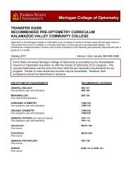 transfer guide recommended pre-optometry curriculum kalamazoo