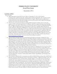 FERRIS STATE UNIVERSITY Good News Items September 2011