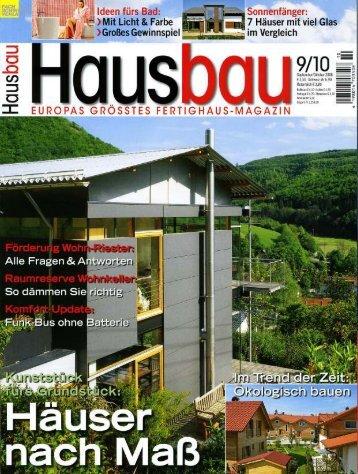 Hausbau 09-10/2008 - Fertighaus Weiss GmbH