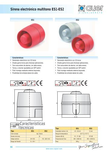 Características técnicas Sirena electrónico multitono ES1-ES2