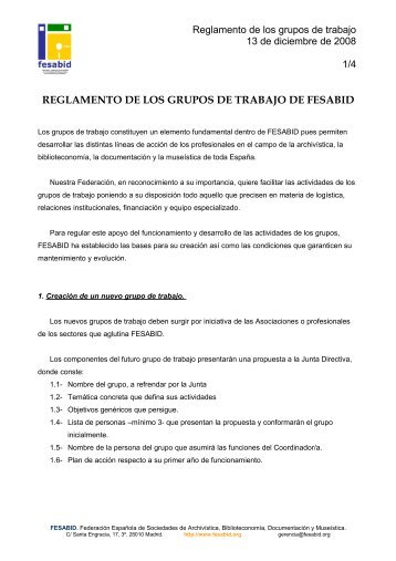 Reglamento de los grupos de trabajo de FESABID