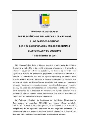 Propuesta de FESABID sobre política de Bibliotecas y de Archivos a ...