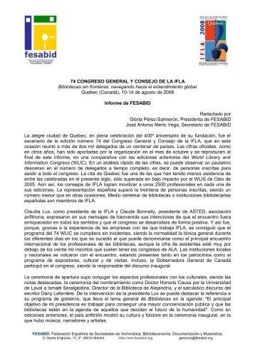 Informe de FESABID-IFLA - WLIC 74