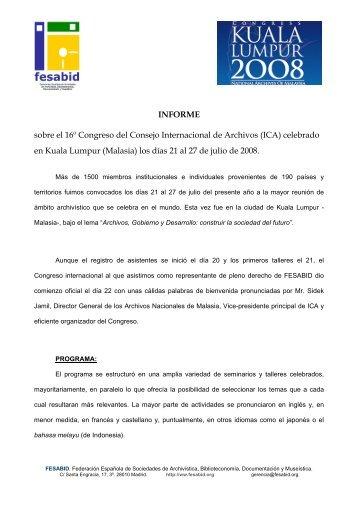 Informe ICA 2008 - Fesabid