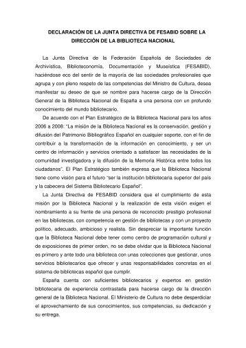 DECLARACIÓN DE LA JUNTA DIRECTIVA DE FESABID SOBRE ...