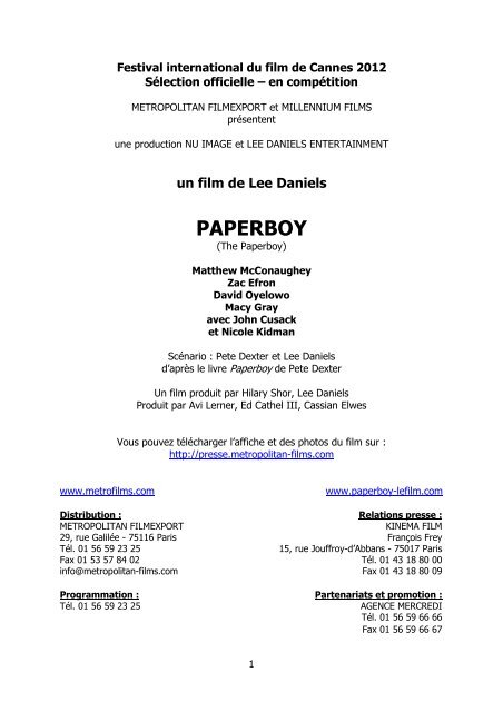 PAPERBOY Textes DP_cannes - Cannes International Film Festival
